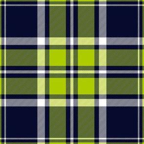 """MacDonald tartan, lime-navy variant, 9"""""""
