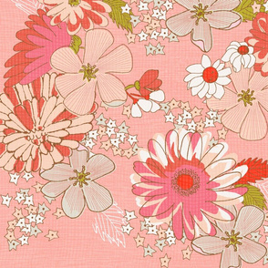 Pretty in Pink Large 50's floral