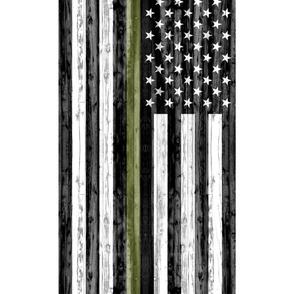 """2 yard cut (54"""" width) - thin green line - army C18BS"""