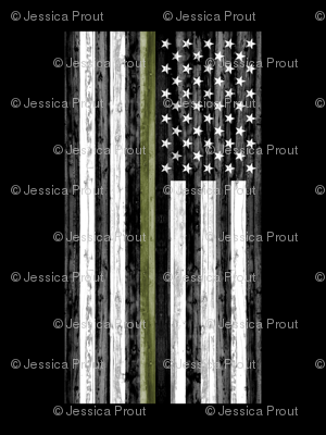 """2 yard cut (54"""" width) - thin green line - army  green on black C18BS"""