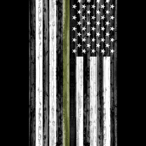 "2 yard cut (54"" width) - thin green line - army  green on black C18BS"