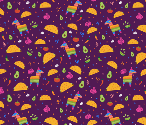 Taco Fiesta in Purple fabric by latheandquill on Spoonflower - custom fabric