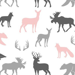 woodland animals - pink and grey - little lady coordinate