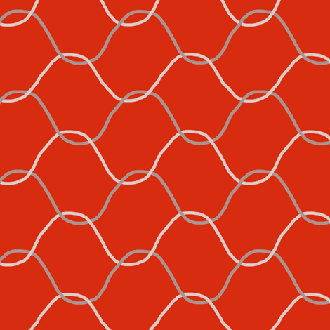 Chickenwire on Tomato Red fabric by eclectic_house on Spoonflower - custom fabric