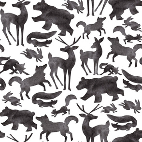 Happy Camping Woodland Forest Animals on White - Deer, Wolf, Rabbit, Squirrel, Fox, Skunk and Bear