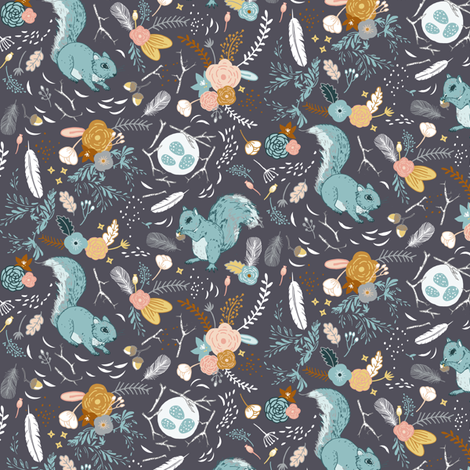 Squirrel (charcoal) SML fabric by nouveau_bohemian on Spoonflower - custom fabric