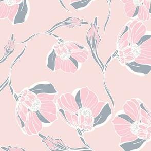 Vintage rose block print pink grey