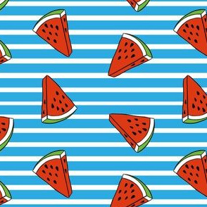 Watermelons with blue and white stripes