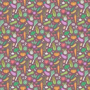 Vegetables Food Doodle on Mauve Tiny Small 1  inch