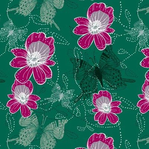 Go tropical greens with fuchsia orchid pop