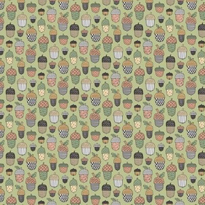 Geometrical Acorns Fall Autumn on Olive Green Tiny Small