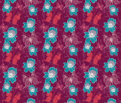 Go tropical purple with teal orchid fabric by jac_slade on Spoonflower - custom fabric