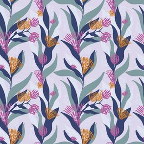 Delicate trailing floral design on a soft mauve base