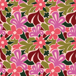 Abstract Floral in Green and Pink