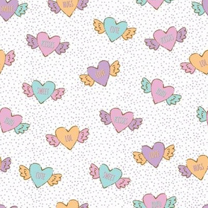 Rainbow Candy Hearts in White with Purple