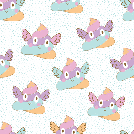 Unicorn Poop White with Blue Speckles fabric by red_raspberry_designs on Spoonflower - custom fabric