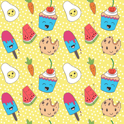 funny pattern for kids kawaii style fabric by whimsical_brush on Spoonflower - custom fabric