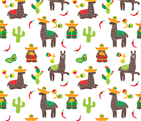 Mexican Amigos Eating Tacos fabric by colour_angel_by_kv on Spoonflower - custom fabric