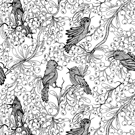 Birds and Berries fabric by magic_pencil on Spoonflower - custom fabric
