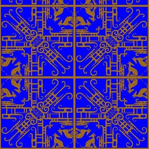 '20's filigree _ Hounds-Bronze on royal blue- Mirrored