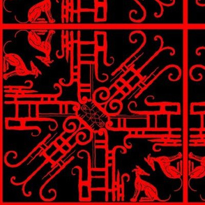 '20's filigree _ Hounds-Red on Black
