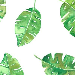Botanical watercolor leaves