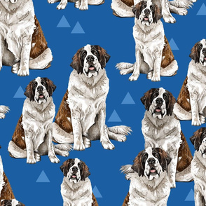 Saint Bernard on Blue