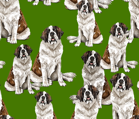 Saint Bernard on Green fabric by taraput on Spoonflower - custom fabric