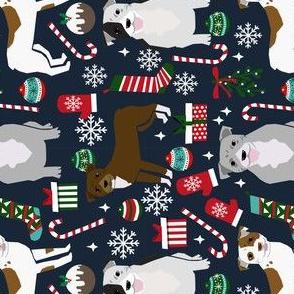 RAULROAD - pitbull terrier christmas fabric pitbulls christmas fabrics pitbull terrier xmas dog fabrics