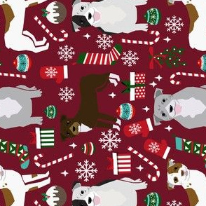 RAILROAD - pitbull dog fabric pitbull xmas holiday christmas design - ruby