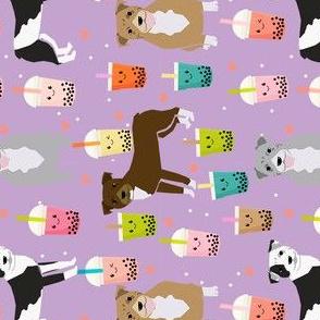 RAILROAD - pitbull boba tea fabric - cute kawaii bubble tea pitbulls design - purple