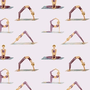 yoga pattern on purple, watercolor