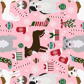 RAILROAD - pitbull dog fabric pitbull xmas holiday christmas design - pink