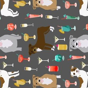 RAILROAD - pitbulls cocktails fabric cute pitbull dogs and mixed drinks - grey