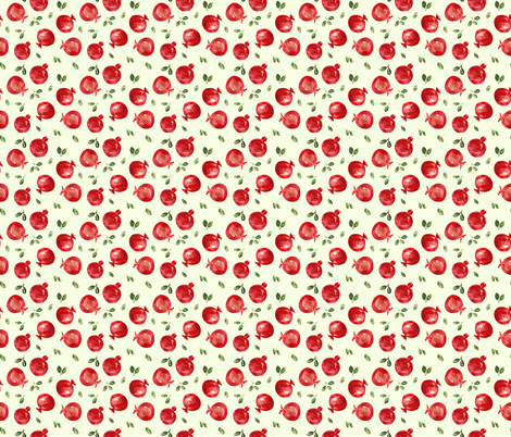 Watercolor pomegranate, smaller scale on green fabric by katerinaizotova on Spoonflower - custom fabric