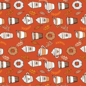 pumpkin spice latte fabric coffee and donuts fall autumn traditions rust - SMALL railroad