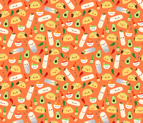 Taco and Burrito Time fabric by girlfrommars on Spoonflower - custom fabric