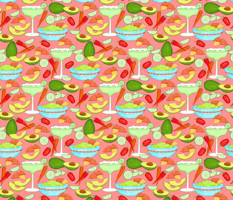 Margaritas and Guacamole Coral Medium fabric by phyllisdobbs on Spoonflower - custom fabric