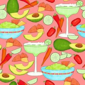 Margaritas and Guacamole Coral Medium