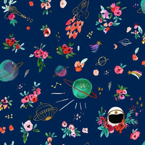 Floral Space Navy