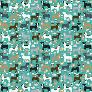 SMALL - pitbull coffees fabric - cute dogs and coffees design - best pitty, pibble, staffy fabric