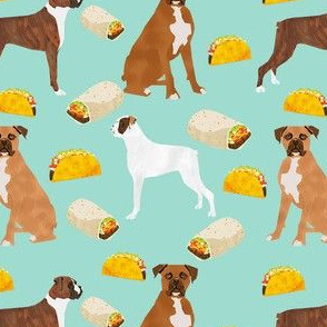 boxer dogs taco fabric - cute boxers dog, dogs, tacos, burritos, dog design