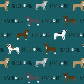 pitbull rescue dog fabric - cute dogs pitty, pibble, dog design