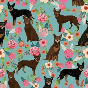 australian kelpie floral fabric - cute black and tan, tan, red kelpies florals fabric