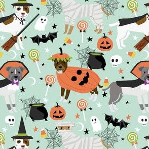 pitbull halloween costume dog fabric - cute dogs in costume halloween design candy corn, candy, funny pet fabric- mint
