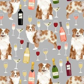 australian shepherd red merle wine fabric cute dogs and wine cocktails design
