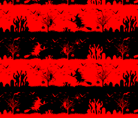 Red Devil and Black Halloween Nightmare Stripes  fabric by paper_and_frill on Spoonflower - custom fabric