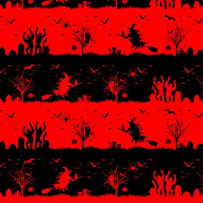 Red Devil and Black Halloween Nightmare Stripes