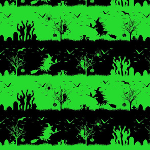 Monster Green and Black Halloween Nightmare Stripes