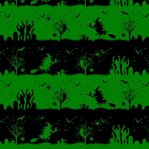 Alien Green and Black Halloween Nightmare Stripes
